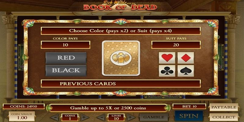 double up gamble feature in book of dead slot game.