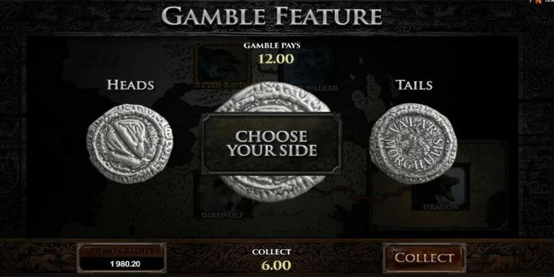 The gamble feature at Game of thrones slot game.