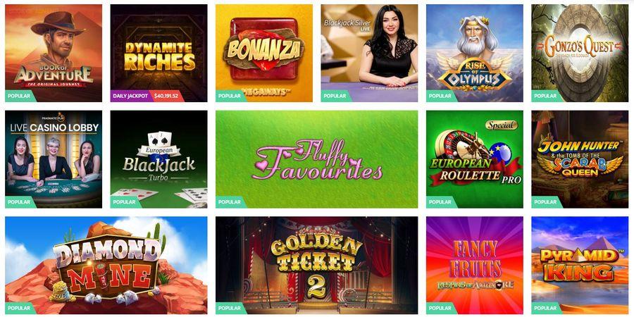 most popualr games at online casino screenshot