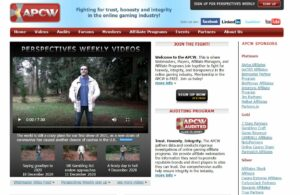 screenshot of the apcw homepage