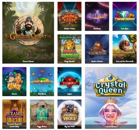 Online pokies listed in casino games category.
