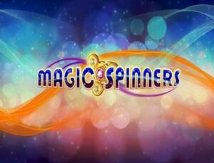 The logo of the Magic Spinners slot game.
