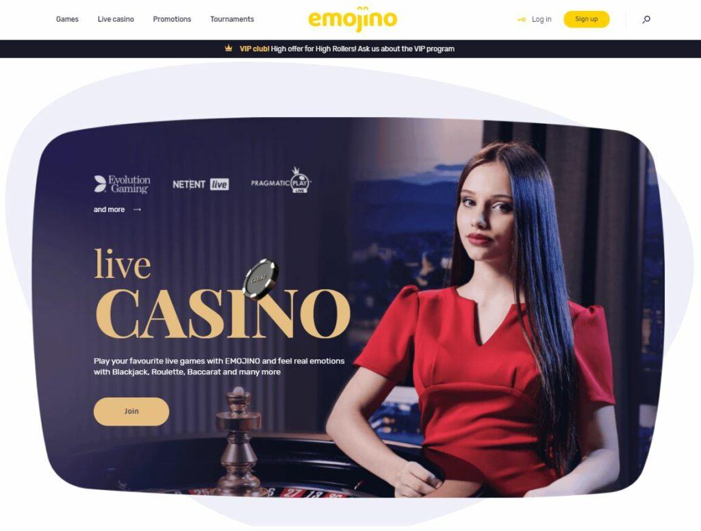 Emojino casino screenshot.