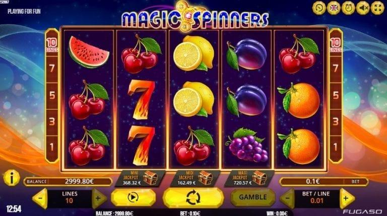 Screenshot of the Magic Spinners slot gameplay.
