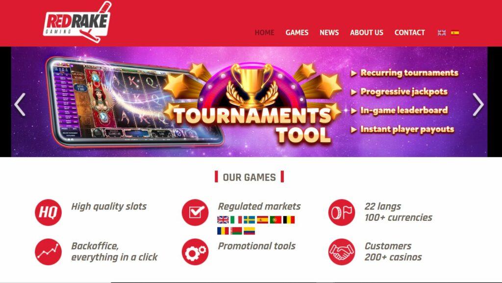 Screenshot of the Red Rake Gaming official website
