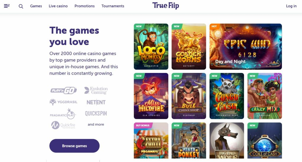 screenshot of TrueFlip casino online.