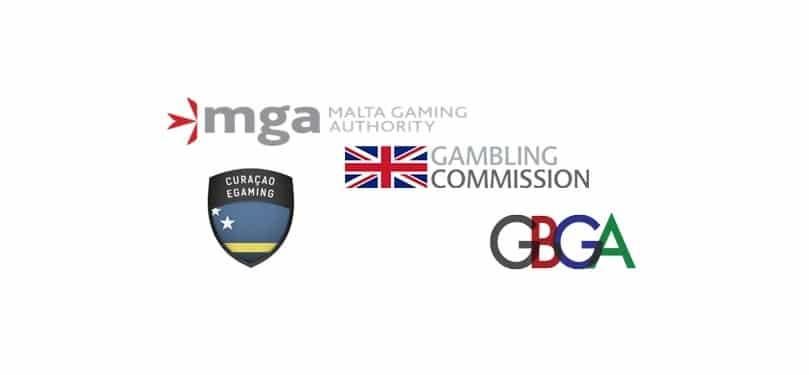 Logos of the best casino gambling regulatory bodies.
