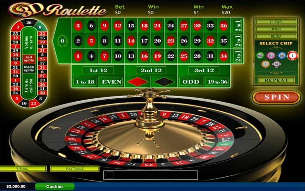 online roulette main screen