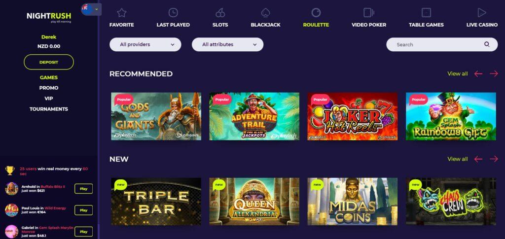 Screenshot of the Nightrush casino games page.