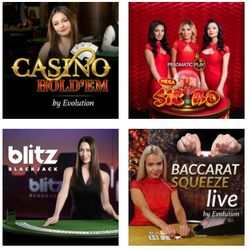 Live casino games at online casino.