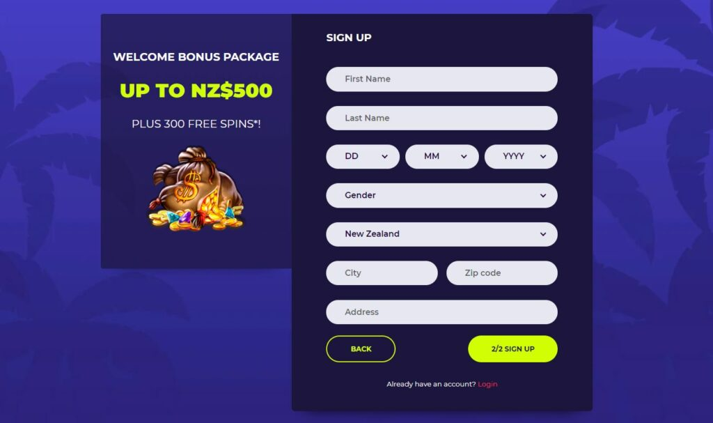 Nighrush casino registration page.