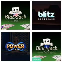Screeshot  of 4 types of blackjack at online casinos.