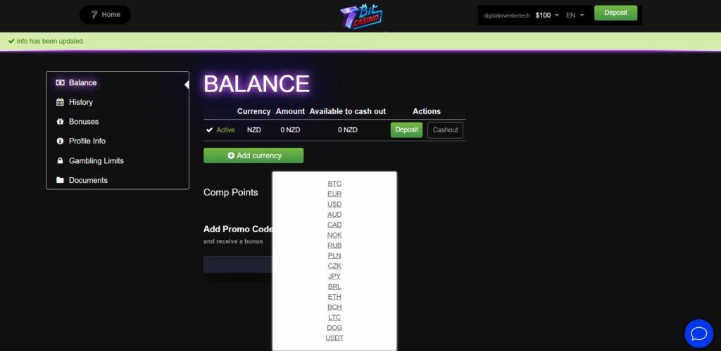 cashier page at 7Bit casino online.