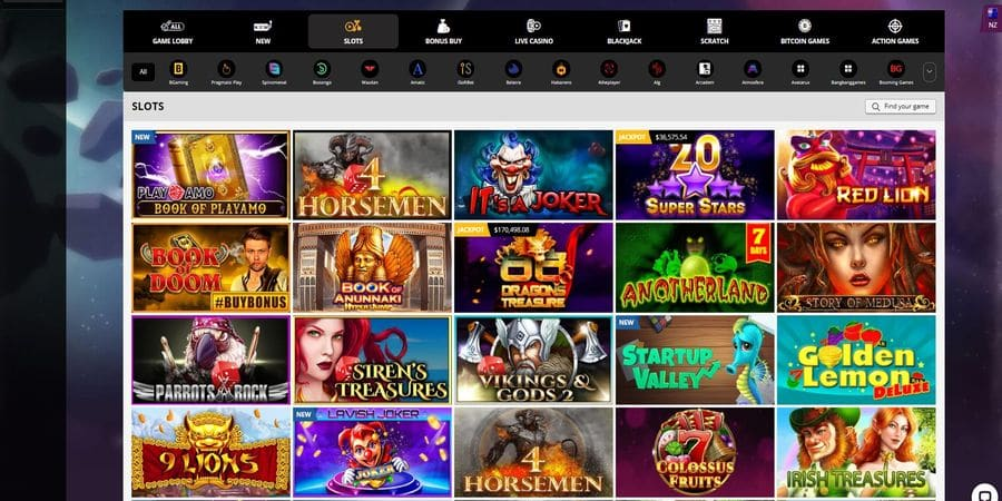 Screenhot of the Playamo casino games page