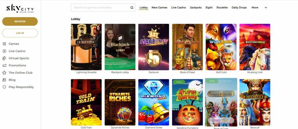 Sky City Online Casino homepage screenshot