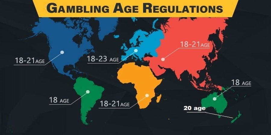 casino age limits marked in the map of world