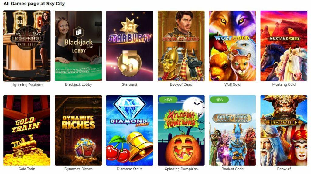 all games at SkyCity online casino