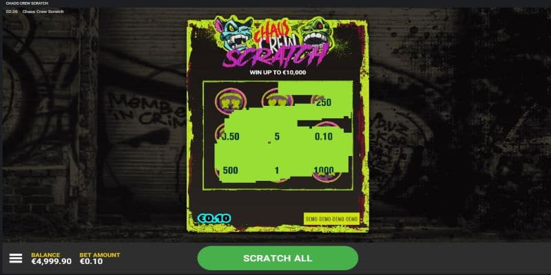 screenshot of the Chaos Crew scratchies