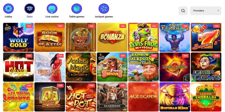 Screenshot of Evospin casino games page