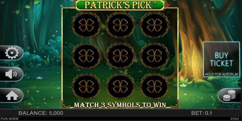 Patrick's Pick scratch card game screenshot