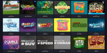 screenshot of the scratch games portfolio at online casino