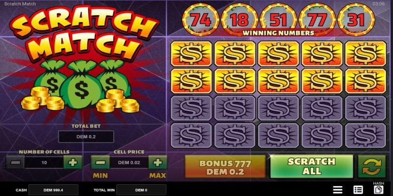 Scratch Match scratchies game screenshot