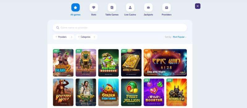 screenshot of the true flip casino games page