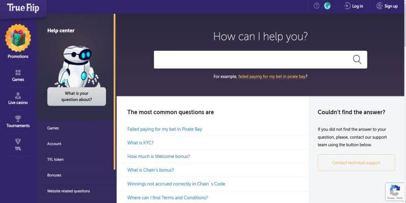 Screenshot of the True Flip casino help center for New Zealand