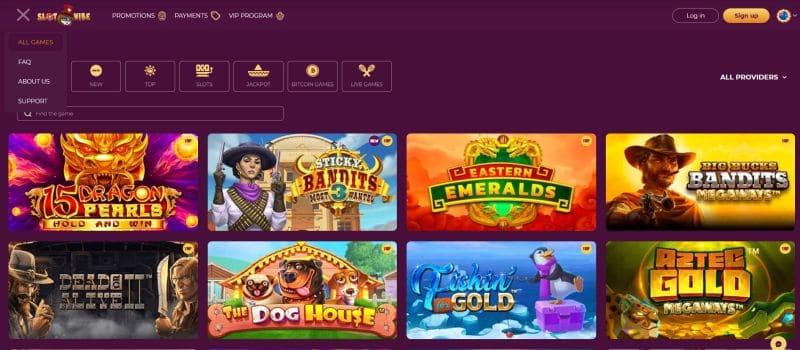 casino games page screenshot