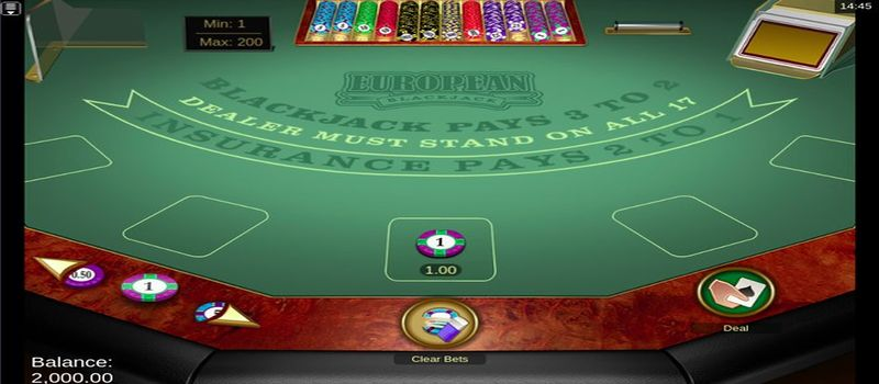 european blackjack table