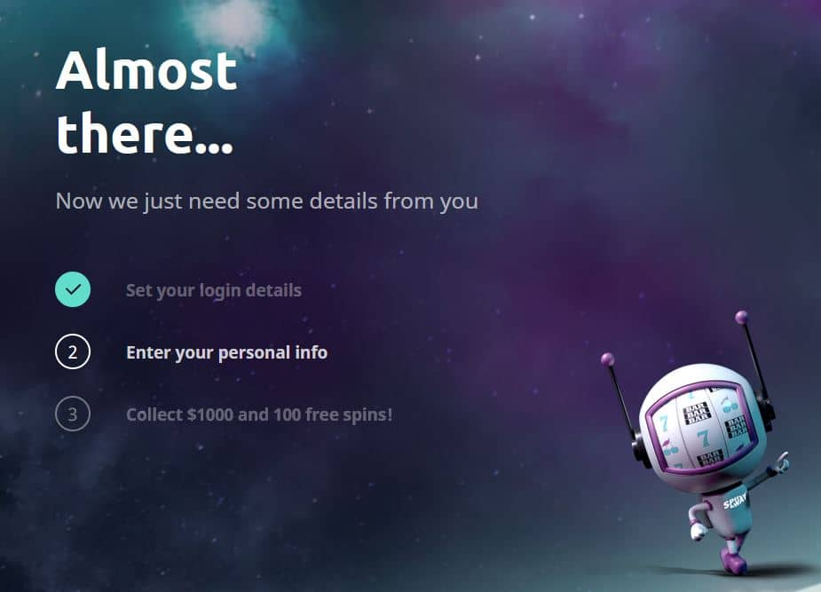 Spinaway casino sign up page screenshot