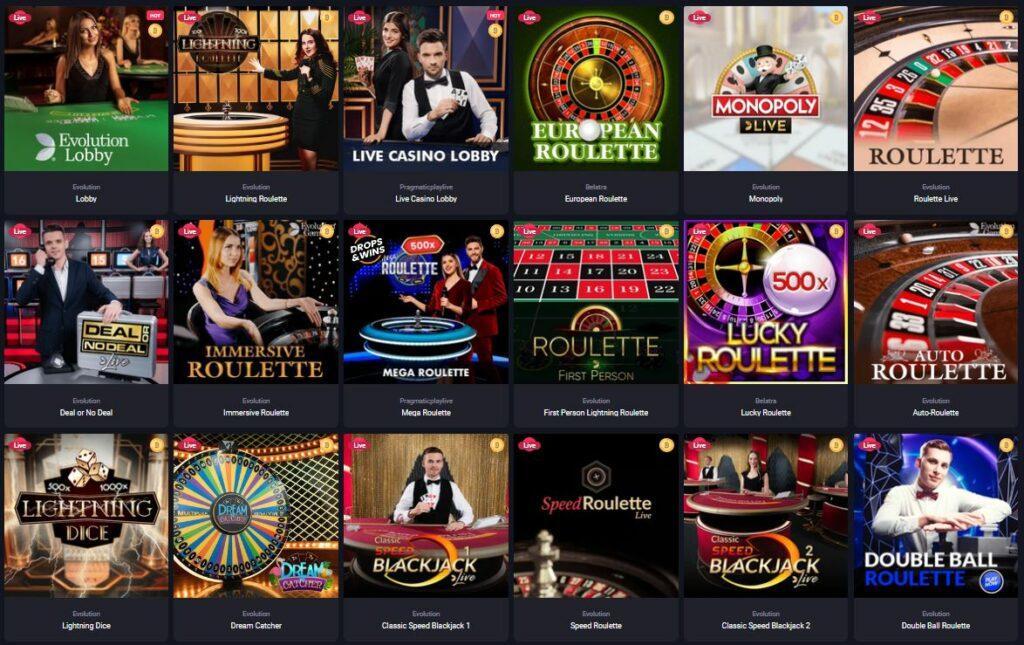 Woo live casino games page - screenshot